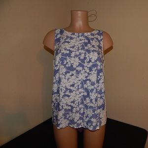 Kensie Size M Blue/White Floral Tank Pre-owned